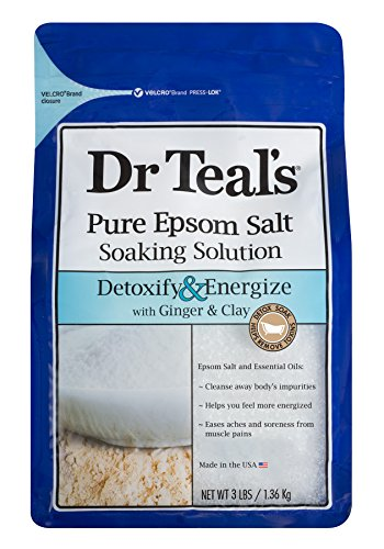 Dr Teal#039s Pure Epsom Salt Soaking Solution Detoxify amp Energize with Ginger amp Clay 3 Pound Bag