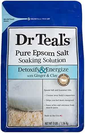 Dr Teal's Pure Epsom Salt Soaking Solution, Detoxify & Energize with Ginger & Clay, 3 Pound Bag