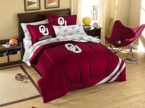NCAA/MLB/NBA/NFL Twin/Full Size Applique 3 pc Comforter Set- MANY different Teams! (Oklahoma Sooners, Twin/Full) (Sooners Comforter Oklahoma Full)