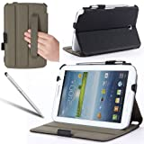 i-Blason Samsung Galaxy Tab 3 7.0 Slim Folio Book Shell Stand case Cover P3200 with Elastic Hand Strap, Stylus Loop & Bonus Stylus (3 Year Warranty)- Black
