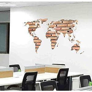 KiKa Monkey 3D Ladrillos Mapa del mundo Desmontable Vinilo Cuarto Pegatinas de pared