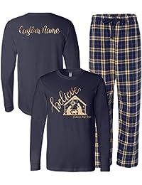 Personalized Believe Christmas Matching Family Pajama Set, Adult & Youth Sizes
