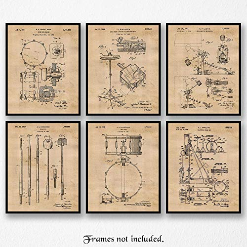 (Original Drums Patent Art Poster Prints- Set of 6 (Six 8x10) Unframed Photos- Great Wall Art Decor Gifts Under $20 for Home, Office, Garage, Man Cave, Student, Teacher, Musician, Rock N Roll Band, Fan)