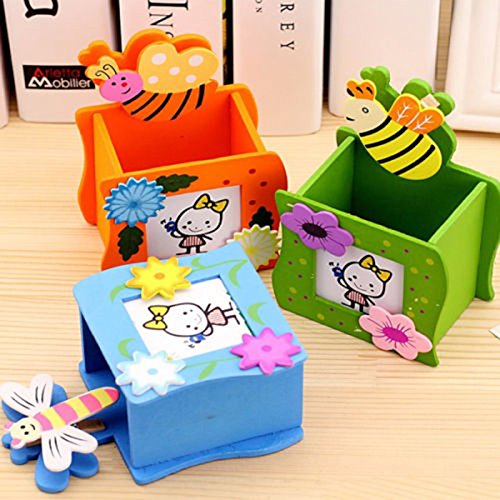 Angelduck 1 Pcs Student Wooden Desktop Pen Holder Insects Frame Pencil Vase Brush Pot With Clip (Randomly Color) (Vase Insect)