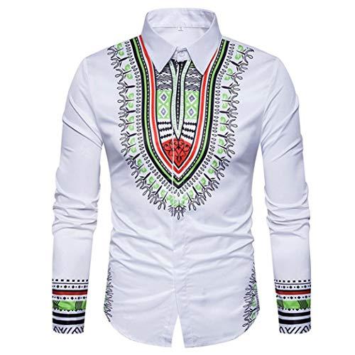 Men's Shirts On Sale, Jiayit Men's African Print Dashiki T-Shirt Autumn Long Sleeve Fashion Tops Tee (3XL, White) by Jiayit Men Shirt