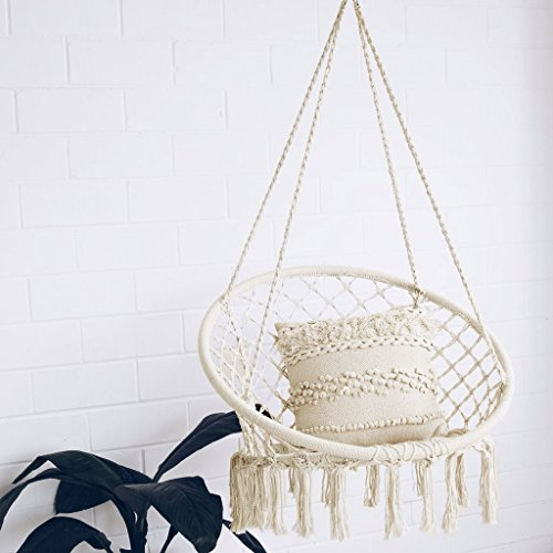 Cheap  Sonyabecca Hammock Chair Macrame Swing 265 Pound Capacity Handmade Knitted Hanging Swing..
