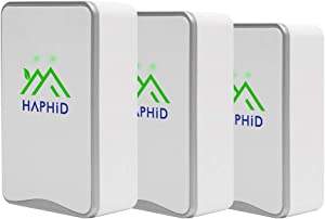 Negative Ion Generator HAPHID Pluggable Air Purifier with Highest Output - Up to 32 Million Negative Ions/Sec, Filterless Mobile Ionizer & Portable Purifier Clean:Allergens,Pollutants,Odors (3 Pack,Silver )