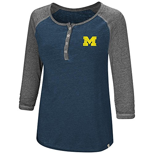 Colosseum Womens Michigan Wolverines Henley 3/4 Long Sleeve Tee Shirt - S