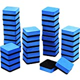 Sunshane 36 Pack Magnetic Whiteboard Dry Eraser Chalkboard Cleanser for Home School and Office (Blue, 2 x 2 Inch)