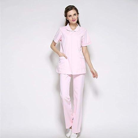 OPPP Ropa médica Manga Corta, Cuello de Soporte, Bata médica, Uniforme de Laboratorio médico, Bata de Hospital, Ropa de médico y Conjunto de Pantalones: ...