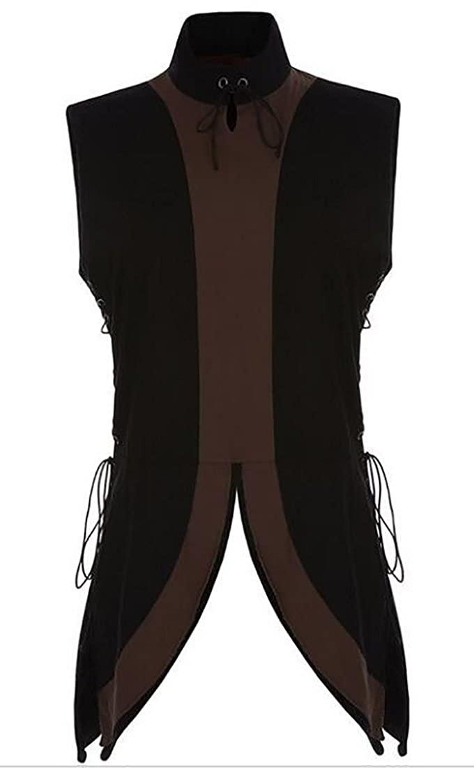 SHOWNO-Men Split Bandage Contrast Sleeveless Irregular Vintage Tank Top Vest Blouse