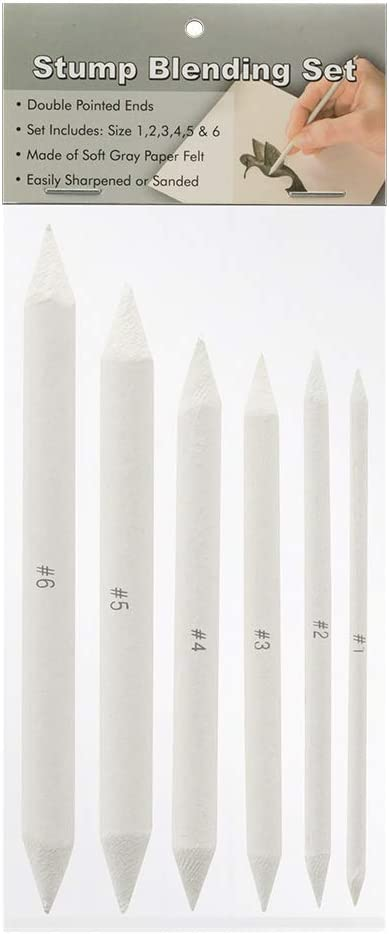Creative Mark Blending Stumps - with Solid Double-Ended Points to Blend Smudge, Made with Soft Gray Paper Easily Sharpened or Sanded - [Set of 6]