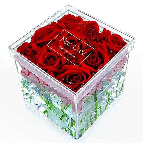NEWCREA Luxury Rose Flower Box, Water Holder Flower Pot,Wedding Flower Gift Box,9 Holes Display Vase,Acrylic
