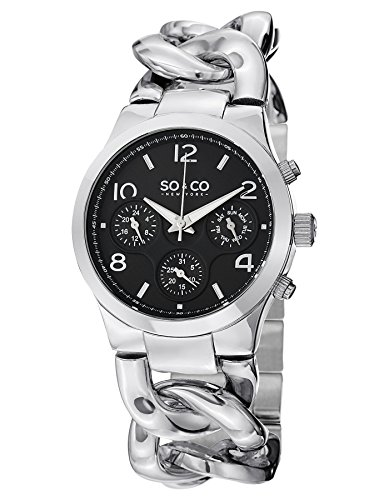 SO&CO New York Women's 5013.5 SoHo GMT Day and Date Black Dial Stainless Steel Chain Link Bracelet Watch (Gmt Watch Date)