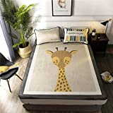Abreeze 3Pcs Giraffe Silk Summer Sleeping Mat Cute Cooling Mattress Topper Pad, Animal Mats Folded Ice Skirt,Twin, 47'' x 78''
