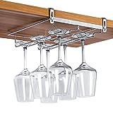 VOBAGA Stemware Racks 3 Rows Adjustable Stainless Steel Wine Glass Rack Stemware Hanger Bar Home Cup Glass Holder Dinnerware Kitchen Dining,Hold 6 Glasses