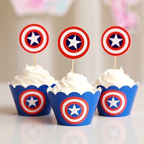 Astra Gourmet Avengers America Captain Cupcake Toppers and Wrappers - Great Party Cupcake Decorations - 24 -
