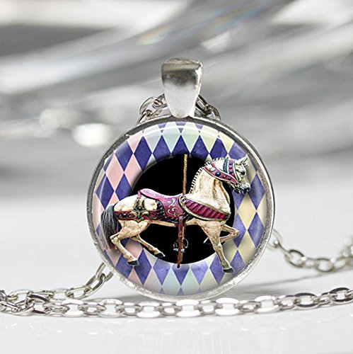 Jewelry tycoon®Merry Go Round Necklace Carousel Horse State Fair Amusement Park Carnival Art Pendant - Carousel Necklace