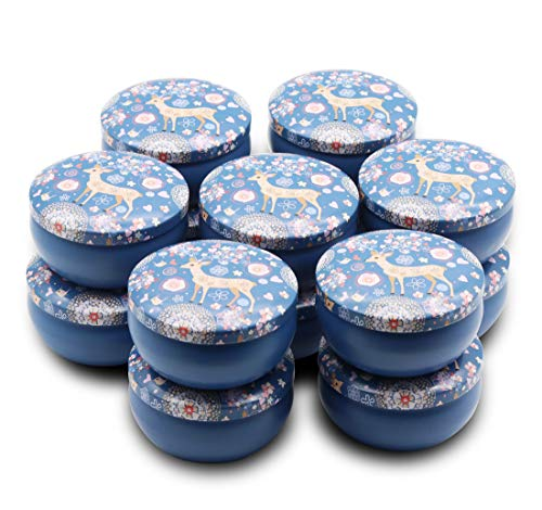 Wholesale Metal Tins - JulWhisper Candle Making Supplies - 4-Ounce Candle Tins 14 Piece with Lids for Candle Making, Dreamy Deer Metal Tin Jar for Party Favors, Sweets, Spices, Gifts