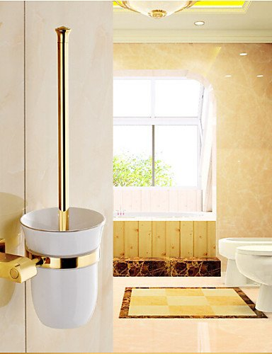 XY&XH Toilet Brush Holder ,Ti-PVD Wall Mounted Brass Material Toilet Brush Holder , golden