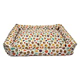 Hxyan Dog Bed Pet Bed Cat Bed Small and Medium Washable Owl Pattern Linen Four Seasons Universal (Size : L)
