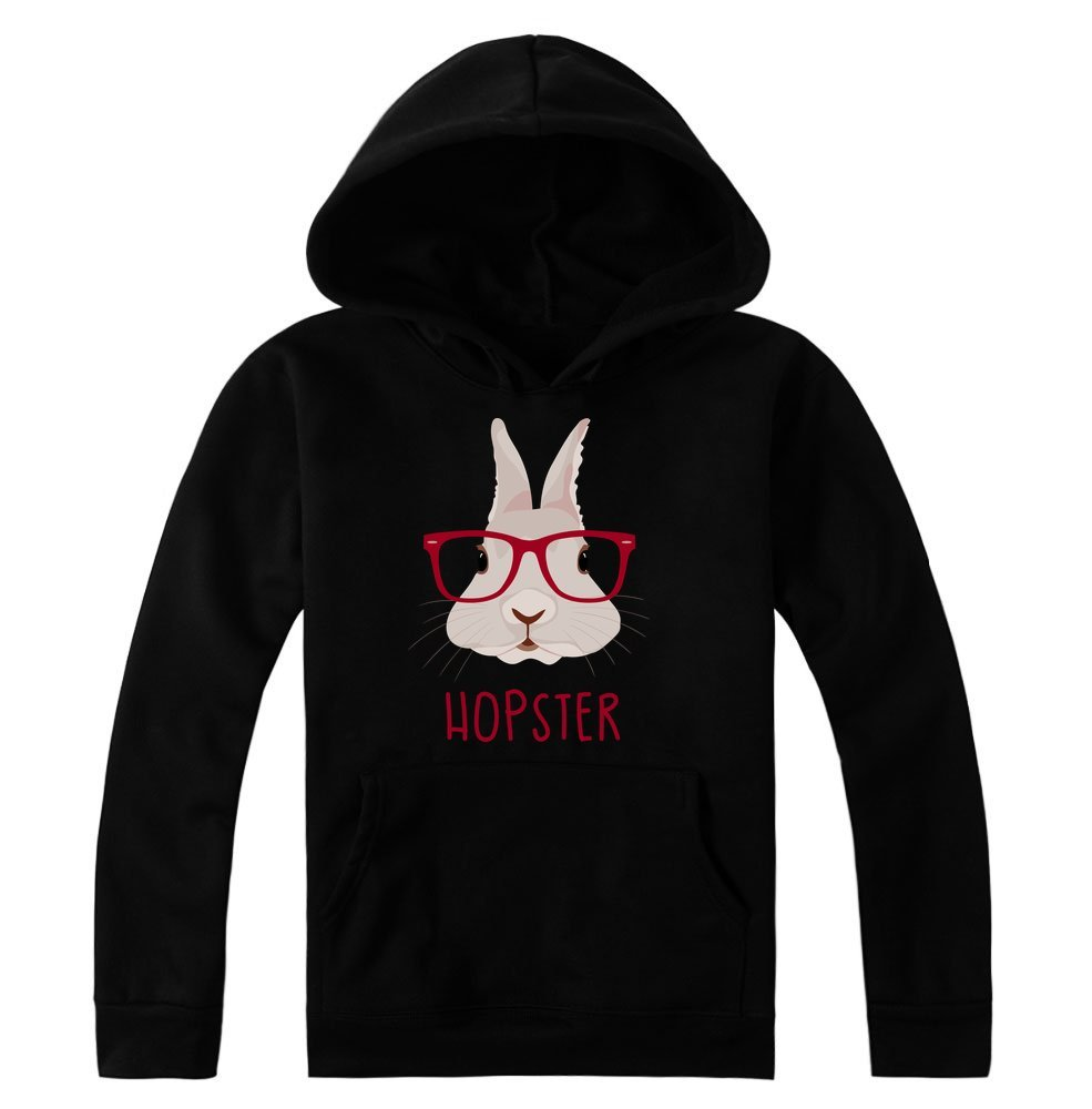 Hopster Awesome Rabbit with Hipster Glasses Women's Hoodie Pullover Medium