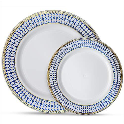 "Laura Stein Designer Dinnerware Set of 64 Premium Plastic Wedding/Party Plates: White, Cobalt Blue Rim, Gold Accents. Set Includes 32 10.75"" Dinner Plates + 32 7.5"" Salad Plates | Midnight ()"