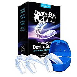 TMJ Mouth Guard Night Time - Stops Teeth Grinding, Bruxism, and Clenching. Includes 3 Dental Guards + Anti-Bacterial Case and Fitting Instructions - Satisfaction Is Guaranteed