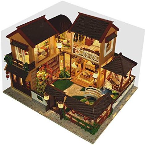 DIY Mini Miniature Dollhouse Kit Wood Craft Construction Kit Model Building ToysDust Cover for Valentine`s Gift (B) / DIY Mini Miniature Dollhouse Kit Wood Craft Construction Kit Model Building ToysDust Cover for Valentine`s Gift (...