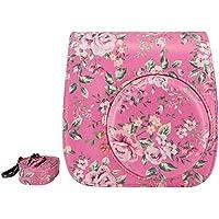 Elvam Flamingo Pink Floral PU Leather Fujifilm Instax Mini 9 / Mini 8 / Mini 8+ Instant Film Camera Case Bag w/ a Removable Bag Strap