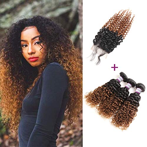 Racily Hair 8A Ombre Brazilian Hair Curly 3 Bundles with Closure Ombre Black to Dark Brown 2 Tone #1B 30 Curly Weave Human Hair with Lace Closure (14