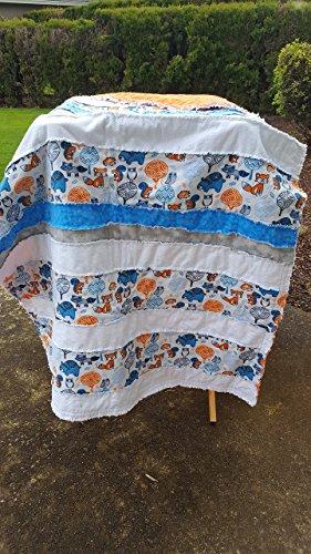 Flannel Rag Quilt  Blue and Orange Forest Animals