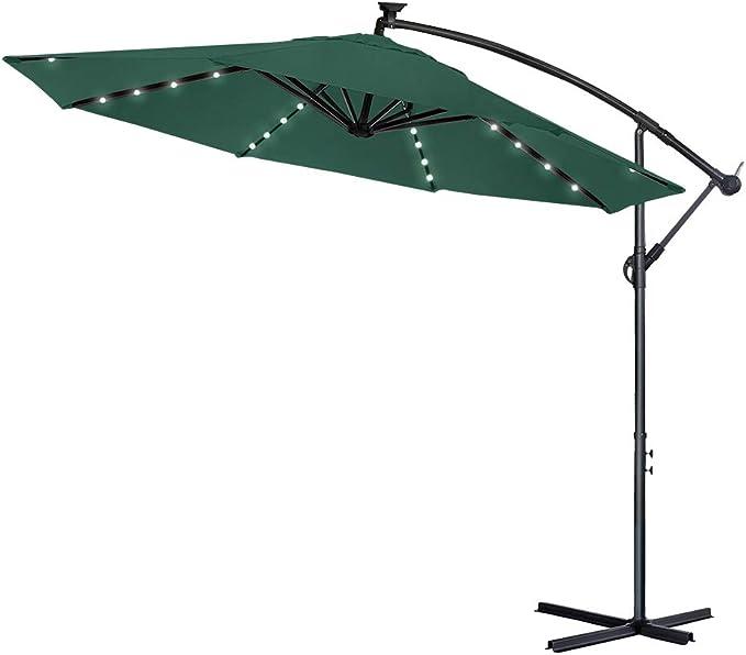 LARS360 Sombrilla Parasol Excéntrico Banana Con Solar LED para Terraza Jardín Balcón Mástil de Aluminio y 100% Poliester Tela, con Base de Cruz, Color Verde 300cm Protección UV y Impermeable: Amazon.es: Ropa