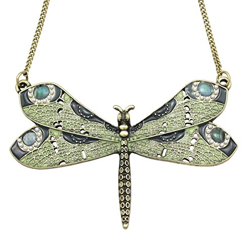 Q&Q Fashion Vintage Gold - Tone Victorian Green Celtic Dragonfly Enamel Simulated - Pearl Wing Art Nouveau Pendant Necklace