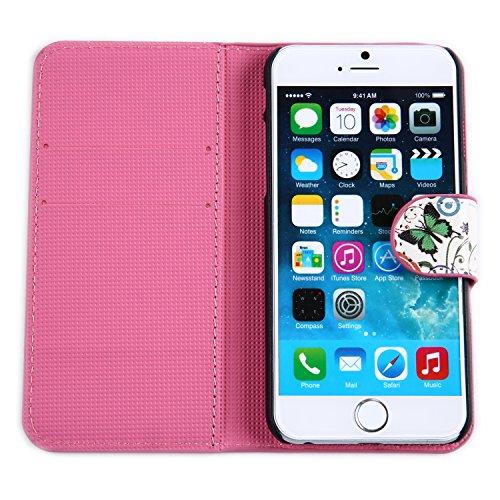 tinxi® Etui de protection en cuir PU pour Apple iPhone 6 plus / 6S plus 5.5 pouces housse coque case cover avec fonction de support et fente de patinage motif papillons et circles