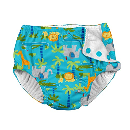Large Product Image of i play.. Baby Boys' Snap Reusable Absorbent Swimsuit Diaper, Gray Multistripe, 12mo