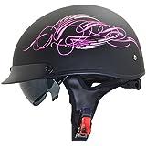 Vega Helmets Unisex-Adult's Half Helmet (Pink Scroll on Matte Black, Large)