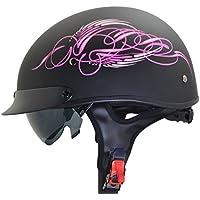 Vega Helmets Unisex-Adult's Half (Pink Scroll on Matte...