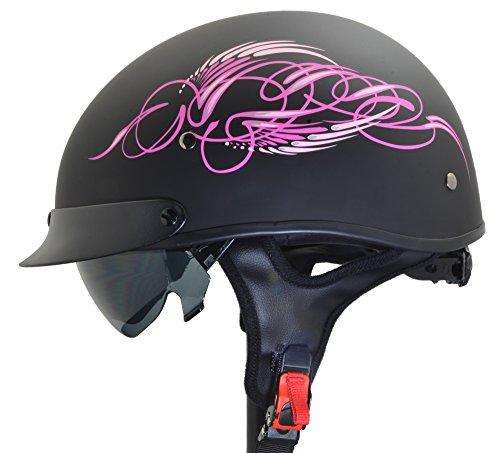 Vega Helmets Unisex-Adult Half Helmet (Pink Scroll on Matte Black, Large) ()