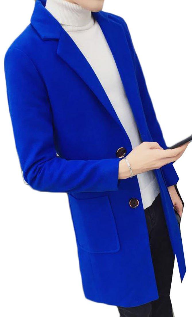 Papijam Men's Lapel Winter Wool Blend Trench CoatsJackets Outdwears Jewelry Blue M