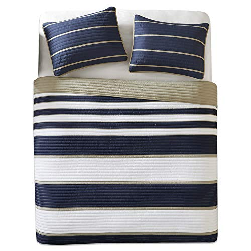 (Comfort Spaces - Verone Mini Quilt Coverlet Set - 2 Piece - Navy, White, Khaki - Stripes Pattern - Twin/Twin XL Size, Includes 1 Quilt, 1 Sham)