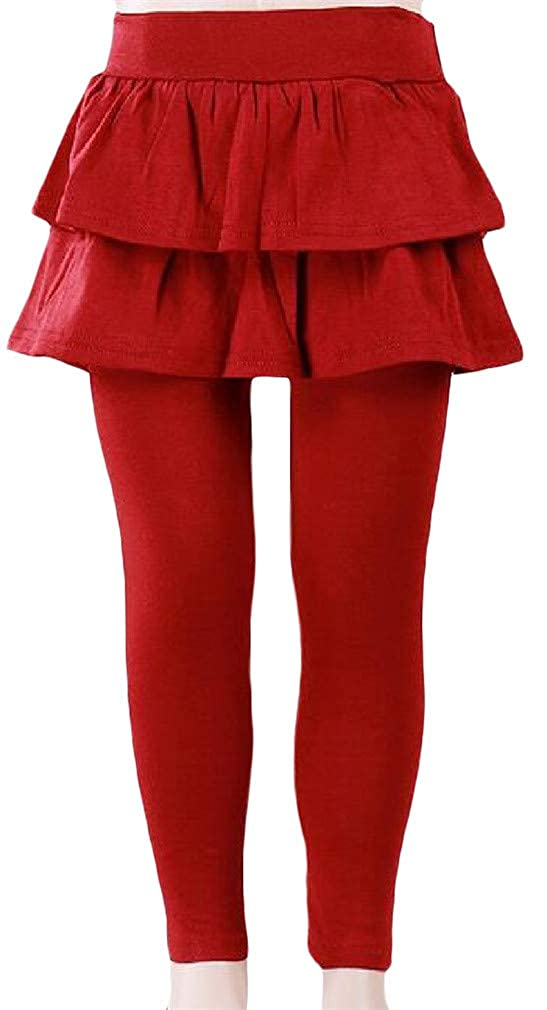 Cromoncent Girls Elastic Waist Fake Two Pleated Winter Stretch Flannel Legging Pants