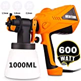 Paint Sprayer 600 Watt HVLP Electric Paint Sprayers Gun for Home Exterior Interior w/ 3 Nozzle Sizes 1000 ml Detachable Container (US Stock)