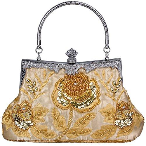 Belsen Women's Vintage Beaded Sequin Evening Handbags Gold