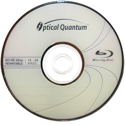 Optical Quantum OQBDRE02LT-10 2X 25 GB BD-RE Single Layer Blu-Ray ReWritable Logo Top 10-Disc Spindle