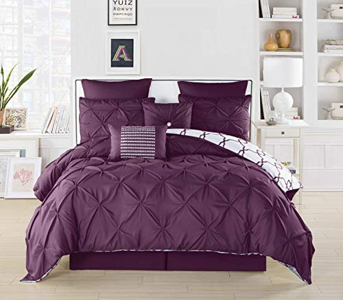 Duck River Textile Esy Hotel Quality Reversible Luxury Comforter Duvet Insert Cover 100% Ultra Soft Hypoallergenic | 3 Piece Set | Geometric Pintuck Collection, | | King Size | |, Plum