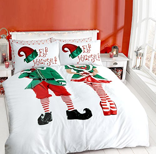 PIERIDAE Elf Yourself Selfie Couple Christmas Xmas Duvet Quilt Cover &  Pillowcase Elf Duvet set (Elf - Double)