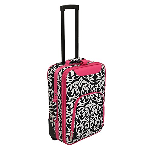 World Traveler Damask 20 in. Rolling Carry-On Luggage Suitcase