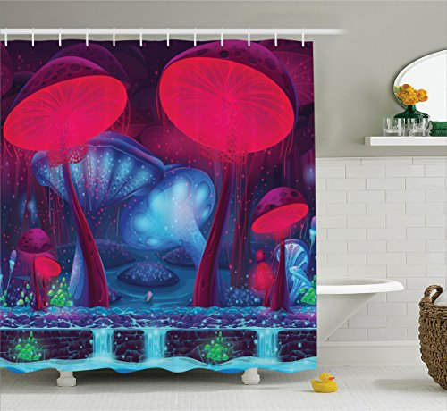 Ambesonne Mushroom Decor Shower Curtain Set, Magic Mushrooms with Vibrant Neon Lights Graphic Image Enchanted Forest Theme Print, Bathroom Accessories, 75 inches Long, Blue Red for $<!--$34.95-->