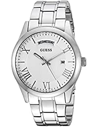 GUESS Women's U0994L1 Brushed Stainless Steell Classic Watch with Day and Date